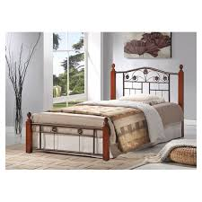 bedroom wood and metal full size platform bed frame with