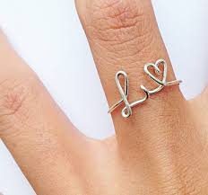 custom initial rings silver l and heart ring gold m ring custom initial ring in