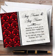 Engagement Party Invitation Cards Deep Red Black Damask U0026 Diamond Personalised Engagement Party