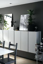 charcoal grey walls white floating cabinets credenza ikea hack