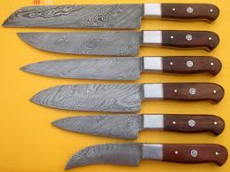 hand made kitchen knives 6 pieces damascus hand made kitchen knives set dc15004
