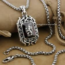 sterling silver stone necklace images 925 sterling silver lion on fire cz stone mens biker rocker jpg