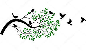 tree silhouette with birds flying stock vector tigatelu 64004411