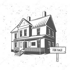 vector house silhouette illustration black and white u2014 stock