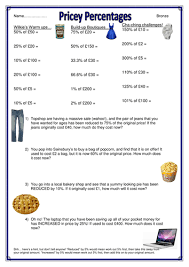shopping themed percentages of amounts worksheets by captainloui