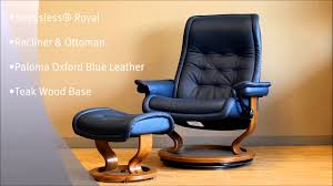 Blue Leather Chair And Ottoman Stressless Royal Recliner And Ottoman In Paloma Oxford Blue