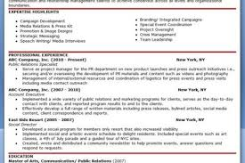 Public Relations Resume Samples by Sample Public Relations Resume Examples Public Relations Manager