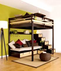 Hippie Bedroom Decor by Green Wall Paint Bedroom With Tall Brown Wooden Bunk Bed Having