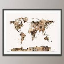 World Map Artwork by World Map Watercolour Sepia Art Print By Artpause