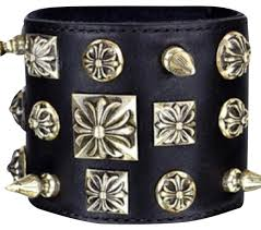 cuff bracelet black images Chrome hearts black leather silver studded quot disheveled quot cuff jpg
