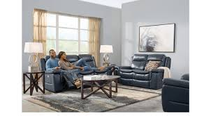 ls that hang over couch milano blue 5 pc leather living room with reclining sofa leather