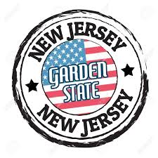 New Jersey State Flag Colors Grunge Rubber Stamp With Flag And The Text New Jersey Garden