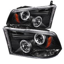 halo headlights for dodge ram 1500 spyder 5010032 black projector headlights w led halo