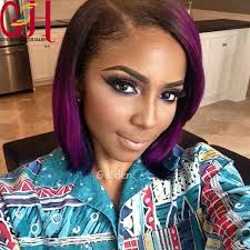 black women with purple hair ombre u part wig brazilian lace front human hair bob wig for black