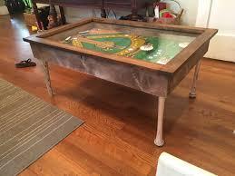 baseball themed pinball coffee table with led lighting and