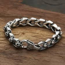 skull bracelet charm images Star with money skull bracelet 925 sterling silver men friendship jpg