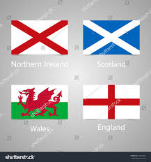 flags england scotland wales northern ireland stock illustration