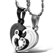couples heart necklace images 1 pair black sivler 316l stainless steel two half heart necklaces jpg