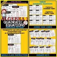 quadratic functions in vertex form great activity to review