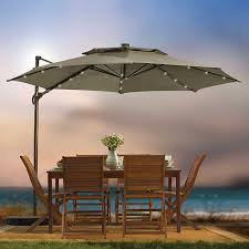Offset Umbrella With Screen by Amazon Com Destination Summer 11 Foot Round Solar Led Adjustable