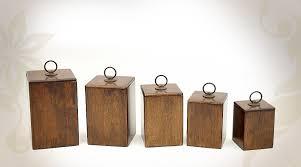 boite de cuisine série de 5 boites en bois et métal pour la cuisine