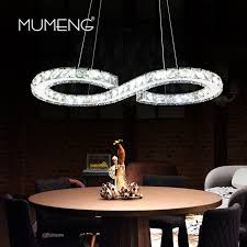 mumeng modern chrome chandelier crystals diamond ring 24w led lamp stainless steel hanging light fixtures adjule