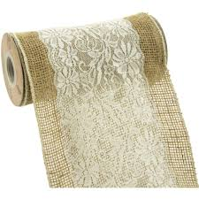 ribbon lace 8 burlap ribbon with scalloped edge white lace overlay 5 yards