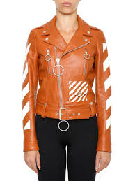 buy biker jacket off white leather biker jacket in brown white bianco modesens