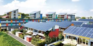 solar city solar energy urban green blue grids