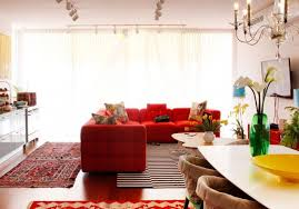 Red Sectional Sofas by Contemporary Family Room With A Red Sectional Sofa And Mounted Tv