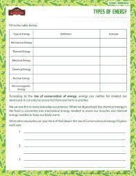 types of energy view u2013 printable sixth grade science worksheet