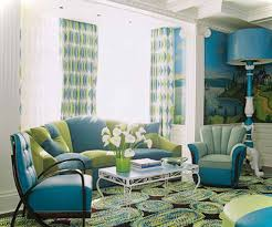 cute green and blue living room in home decor arrangement ideas