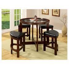 mibasics 5pc glass table top circle dining table set wood dark