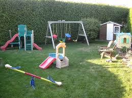 Backyard Play Ideas Outdoor Play Area With Swing And Grass And Wood Chair Exterior