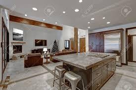 Open Floor Kitchen Designs Modern Open Floor Kitchen Design In Grey Tones With Wood