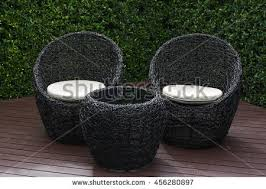 Rattan Outdoor Patio Furniture by Rattan Garden Table Chairs Water Resistant Stock Photo 456280870