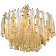 Gold Glass Chandelier Three Tiered Amber And Clear Crystal Chandelier For Sale At 1stdibs