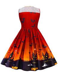 women halloween dress pumpkin bat vintage round collar sleeveless