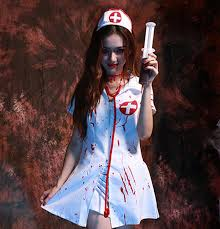 Nurse Halloween Costumes Womens Nurse Dress Zombie Blood Nurse Halloween Vampire Female Nurse