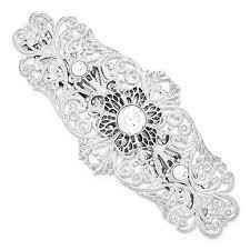 barrette hair silver tone white filigree large barrette hair clip