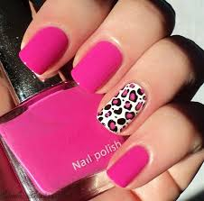 pink nails with accent leopard print nail design