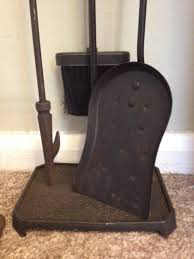 3 piece cast iron fireplace tool set plus stand in evesham