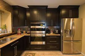 Black Brown Kitchen Cabinets by With Stainless Steel Appliances Black Designs Colors Wood