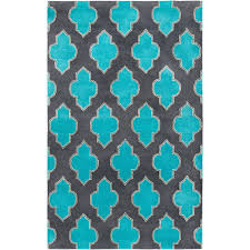 Turquoise And Gray Area Rug Rizzy Home Fusion Collection Gray Turquoise 5 Ft X 8 Ft Print
