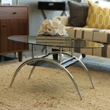 Metal And Glass Coffee Table Walker Edison Oval Glass Coffee Table With Black Mesh Shelf