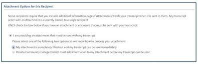 transcript attachment documents admissions u0026 records