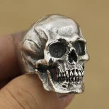 metal skeleton ring holder images 925 sterling silver high detail skull ring mens biker punk ring jpg