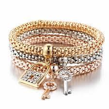 bracelet color crystal images New fashion gold color crystal skull bracelet bangle 3 pcs set jpg
