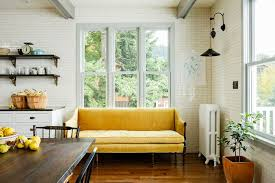 Kitchen Sofa Furniture Mustard Yellow Sofa Eclectic Kitchen Jessica Helgerson