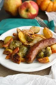 oktoberfest menus and recipes oktoberfest sheet pan brats with roasted vegetables